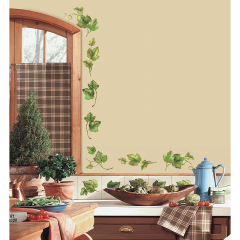 Evergreen Ivy Peel & Stick 38 Wall Decals Country Kitchen Decor Green Leaves Border Vines - EonShoppee