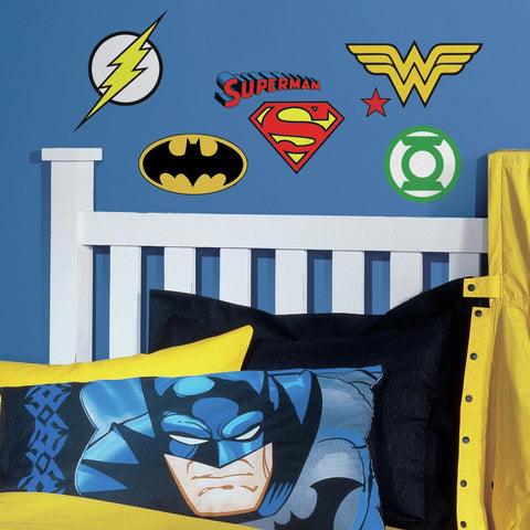 DC COMICS SUPERHERO LOGOS 16 Wall Decal Superman Batman Room Decor Stickers - EonShoppee