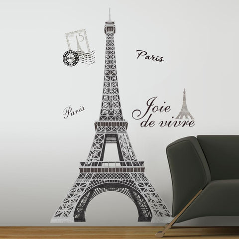 Eiffel Tower Peel And Stick Giant Wall Decals Mural France Paris Stickers Room Decor - EonShoppee