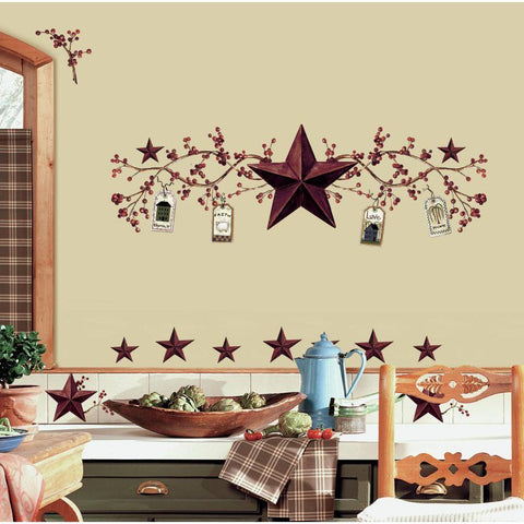 Country Stars & Berries Wall Decals Peel & Stick Kitchen Decor Stickers