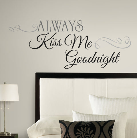 ALWAYS KISS ME GOODNIGHT Big Peel & Stick Wall Decals Home Bedroom Decor Stickers