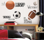 All Star SPORTS SAYINGS & BALLS Wall Stickers 24 Decals Soccer Football Basketball Kids Room Decor - EonShoppee