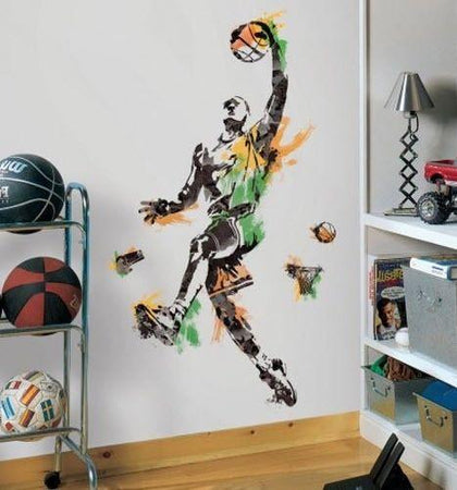 BASKETBALL PLAYER Mural Wall Decals Sports Ball Room Decor Stickers - EonShoppee