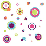 CRAZY POLKA DOTS 31 Wall Decals Green Pink Purple Blue White Room Decor Stickers