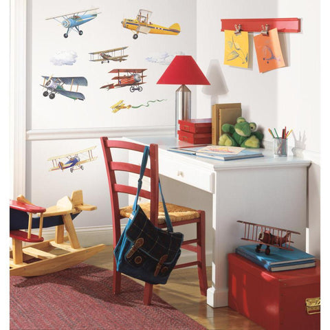VINTAGE AIRPLANES WALL DECALS 22 Planes Stickers Boys Room Decor