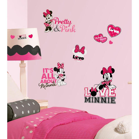 Disney Minnie Mouse Loves Pink Peel And Stick Wall Decals - EonShoppee