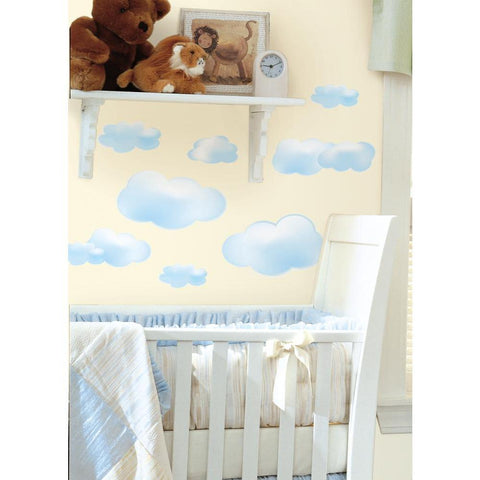 Blue Clouds Peel And Stick Wall Decals - EonShoppee