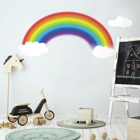 RAINBOW AND CLOUDS WALL DECALS Giant Over the Rainbow Stickers Nursery Decor
