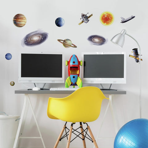 24 Outer Space Travel Wall Decals Sun Stars Planets Stickers Kids Room Decor