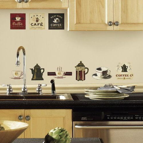 COFFEE HOUSE 31 BiG Wall Stickers Room Decor Kitchen Labels Cups Pot Sign Decals - EonShoppee