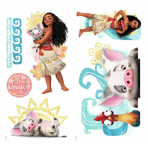 DISNEY MOANA AND FRIENDS 6 WALL DECALS Pua Hei Hei Rooster Room Decor Stickers