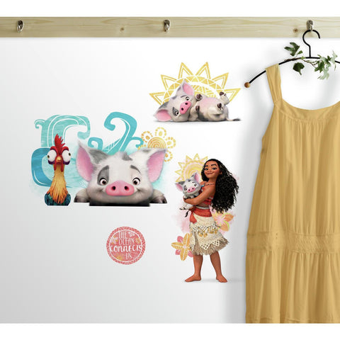 DISNEY MOANA AND FRIENDS 6 WALL DECALS Pua Hei Hei Rooster Room Decor Stickers - EonShoppee