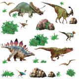 DINOSAURS 25 Wall Decals T-Rex Triceratop Dinosaur Stickers Boys Room Dino Decor