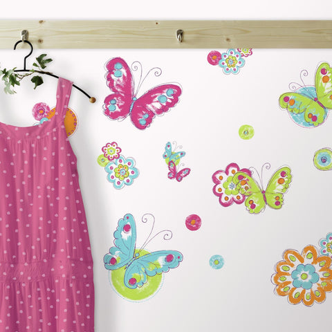BUTTERFLIES & FLOWERS WALL DECALS Girls Butterfly Room Stickers Baby Decor - EonShoppee