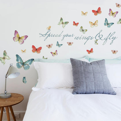 Butterfly Quote Spread your wings & fly WALL DECALS Home Decor Stickers by Lisa Audit - EonShoppee
