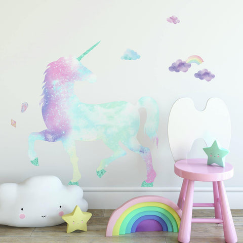 Watercolor Galaxy Unicorn Peel And Stick Giant Wall Decal with Glitter - EonShoppee