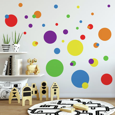 POLKA DOTS Blue Red Yellow Green WALL DECALS 31 NEW Kids Bedroom Stickers Decor
