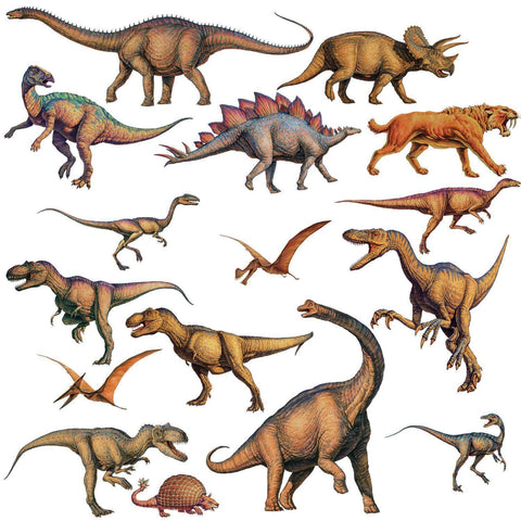 DINOSAURS Peel & Stick 16 Wall Stickers T-Rex Boys Room Decor Wall Decals