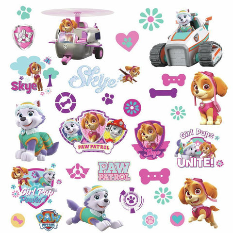PAW PATROL GIRL PUPS FIGURES 30 Wall Decals Room Decor Stickers Skye Everest Puppies Dogs