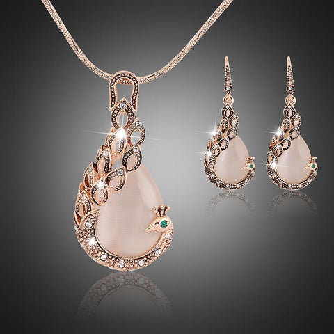 Bful Rose Gold Plated Peacock CZ White Opal Crystal Wedding Fashion Pendant Jewelry Set - EonShoppee