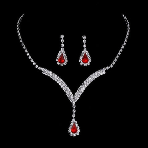 Gorgeous Ruby Red Tennis Crystal Teardrop Wedding Dress Women Fashion Jewelry Set