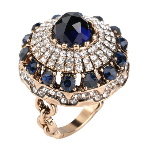 Big Royal BLUE Crystal Vintage Style Party wear Ring For Women Fancy Fashion Jewelry Ring Size 7