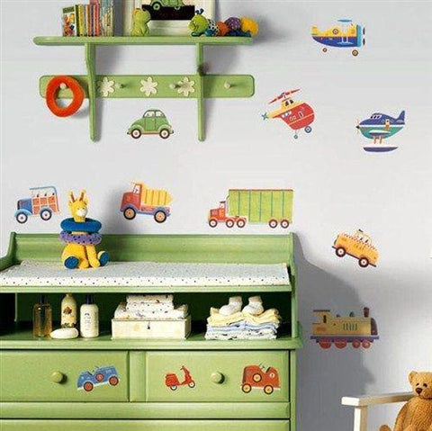 Cars And Trucks Transportation Peel And Stick Wall Decals - EonShoppee