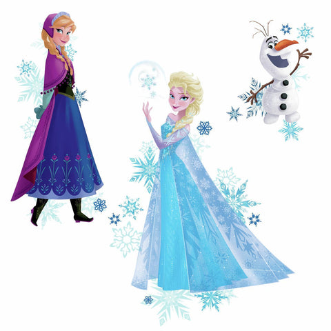 DISNEY FROZEN 3 BiG Wall Decals ELSA ANNA OLAF Room Decor Stickers w/ Snowflakes