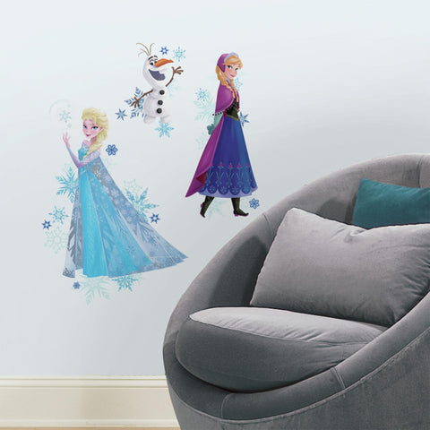 DISNEY FROZEN 3 BiG Wall Decals ELSA ANNA OLAF Room Decor Stickers w/ Snowflakes - EonShoppee