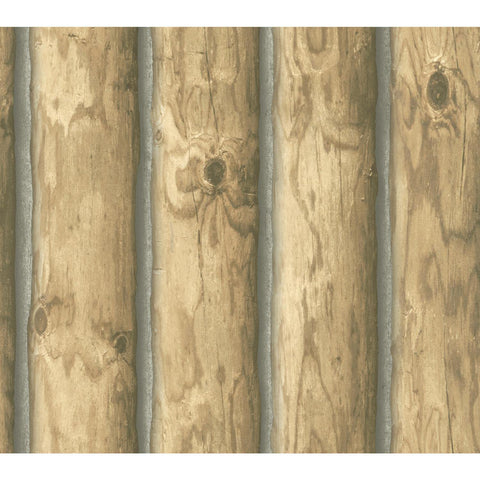 Light Brown Rustic Cabin Lodge Log Wallpaper CH7977 Prepasted Double Roll Bolt - EonShoppee