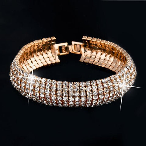 Luxurious Gold Plated Party wear Shining Fancy Fashion Jewelry Bracelet w/ Swarovski Elements - EonShoppee