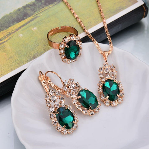 Trendy SEA GREEN Crystal Zircon 3 pc Wedding Gift Fashion Jewelry Pendant Set - Necklace Earrings & Ring - EonShoppee