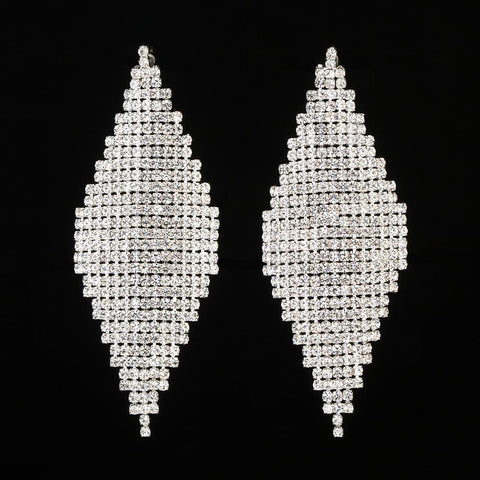 Dazzling Silver Crystal Drop Dangle Women Cocktail Party Earrings Bridal Wedding Gift - EonShoppee