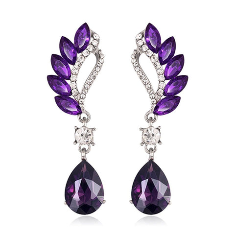 Designer Purple Flower Stylish & Trendy Cocktail Earrings Fashion Jewelry - EonShoppee