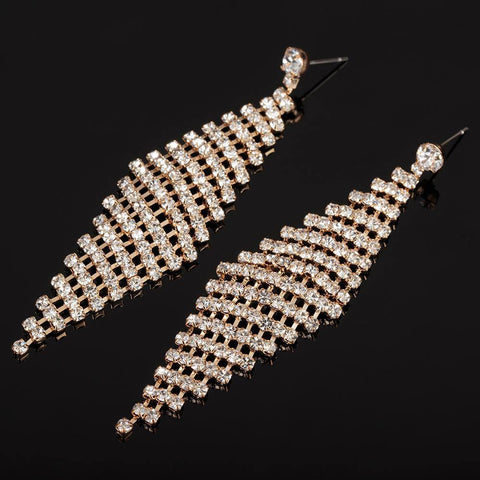 Trendy Rose Gold Plated Long Cocktail Dress Wedding Fashion Jewelry Earrings - EonShoppee