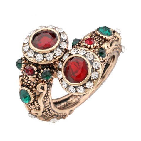 Unique Antique Style Fashion Jewelry Gem Stone Vintage look Bracelet Ring - Size 7 - EonShoppee