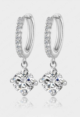 Pretty Platinum Plated 1 Ct AAA Zircon Silver Hoop Fashion Jewelry Earrings - EonShoppee