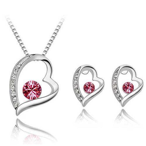 Stunning Platinum Plated Silver Heart Pendant Fashion Jewelry Set Necklace & Earrings