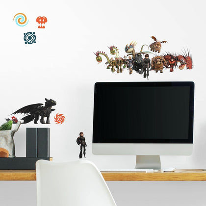 How to Train Your Dragon: The Hidden World 28 Peel & Stick Wall Decals Hiccup, Toothless, and Astrid Stickers - EonShoppee
