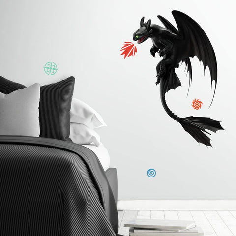 How to Train Your Dragon: The Hidden World Toothless Peel & Stick Giant Wall Decals 11 Kids Room Stickers - EonShoppee