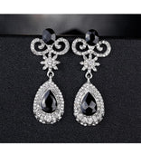 Gorgeous Silver Black Long Crystal Bridal Women Party wear Butterfly Drop Fashion Earrings - EonShoppee