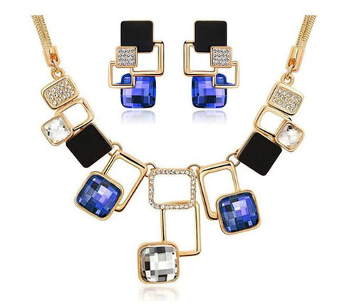Glamorous Golden Blue Geometric Necklace Earrings Classy Elegant Fashion Jewelry Set - EonShoppee