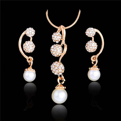 Pretty Gold Plated Rhinestone Crystal Balls & Pearl pendant Earrings & Necklace Fashion Jewelry Set