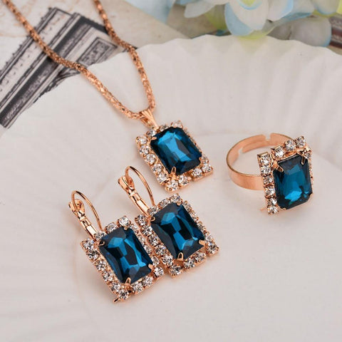 Elegant & Stylish SAPPHIRE BLUE Women Fashion Jewelry Set Wedding Jewelry