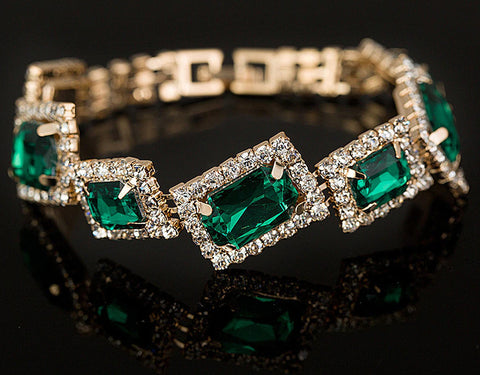 Stunning High Quality Crystal Emerald Green Wedding Statement Fashion Jewelry Bracelet Bangle
