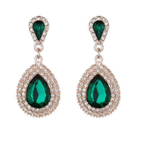 Emerald Green Crystal Water Drop Dangle Evening Fashion Jewelry Statement Earrings