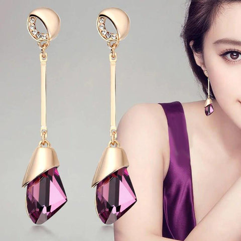 Stylish Golden Wine Color Long Fashion Cocktail Jewelry Drop Dangle Earrings