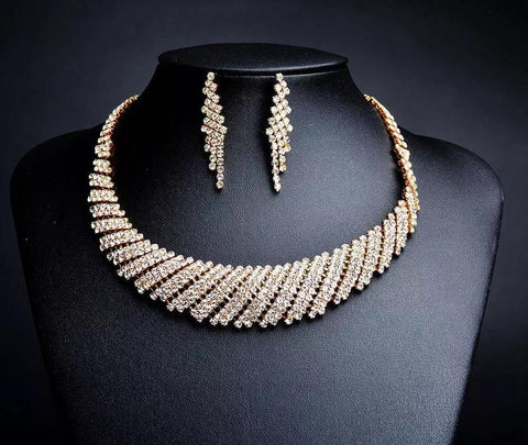 Elegant & Luxurious Golden Crystal Wedding Fashion Jewelry Set For Women