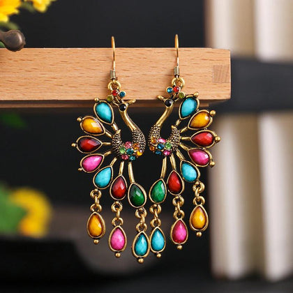 Gorgeous Multi Color Carved Peacock Jhumka Style Drop Dangle Fashion Jewelry Earrings - EonShoppee