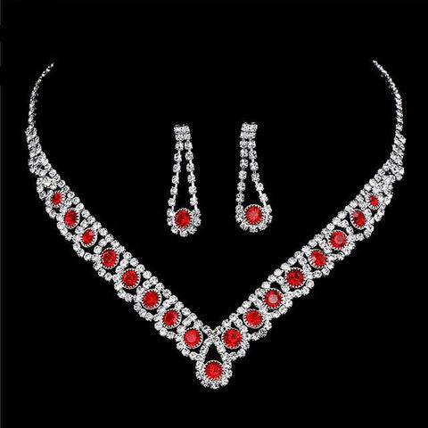Glam Ruby Red Bridal Wedding Fashion Statement Choker Necklace Earrings Jewelry Set